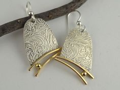 Metal Dangle Earrings  Silver and Brass by DeborahCloseDesigns, $58.00