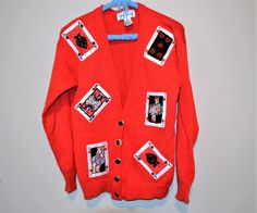 Vintage Cards on Red Novelty Cardigan by ChristmasVintage on Etsy Vintage Sweaters, Vintage Cards, Graphic Sweatshirt, Leather Jacket, Sweatshirts, Red, Cotton, Jackets