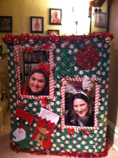 home made christmas photo booth for my ugly christmas sweater party super fun