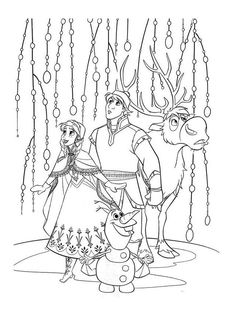 Anna Kristoff Sven And Olaf Go On A Journey To Bring Elsa Back Home Have Fun With This Amazing Disney Frozen Movie Coloring Page Pages