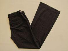 Express Editor Pants 4 Dark Brown Pinstripe full flare leg Stretch Career Dress  #Express #Editor Pants #ebay