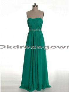 green strapless long chiffon prom dress,  prom dress under 150