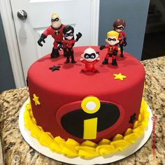 50 The Incredibles Cake Design (Cake Idea) - October 2019 3rd Birthday Cakes, Baby Boy 1st Birthday, Fourth Birthday, 4th Birthday Parties, Birthday Ideas, Incredibles Birthday Party, First Birthdays, Disney, The Incredibles