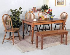 Traditional looks like this never go out of style - perfect for your kitchen, with a bench for additional seating! ($398)