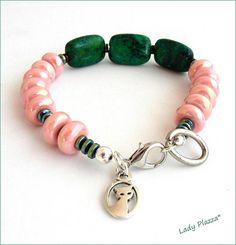 Stone women bracelet pink/green Bracelet Chrysocolle Bracelets Roses, Beaded Bracelets, Vert Turquoise, Bracelet Cuir, Lady, Pink And Green, Stone, Jewelry, Women