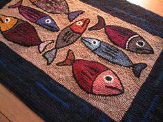Original fish design hand hooked rug by theoldloft on Etsy