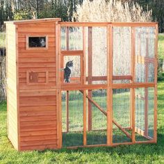 Features:  -Material: Weather-treated non-toxic fir wood, composite asphalt shingles and metal.  -Wooden enclosure with retreat on upper level.  -Large main door with metal latches for easy maintenanc