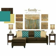 New Living Room Desgn Brown Couch Master Bedrooms Ideas Brown Couch Living Room, Teal Living Rooms, Living Room Color Schemes, Living Room Colors, New Living Room, Home And Living, Living Room Designs, Living Room Decor, Palette