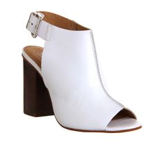 Office Garnet Cuff Block Heel White Leather - Mid Heels