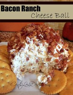 Bacon Ranch Cheese Ball Ingredients 8 oz packages of cream cheese, room temp ½ cup shredded cheddar 1 cup bacon crumbles, divided 1 package of Hidden Valley Ranch dip mix Instructions Place cream. Bacon Ranch Cheese Ball Recipe, Cheese Ball Recipes, Dip Recipes, Snack Recipes, Cooking Recipes, Bacon Dip, Cream Cheese Ball, Recipies, Bacon Ball Recipe