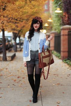 You can't go wrong with a retro-inspired cardigan paired with a flirty floral headband this time of year!