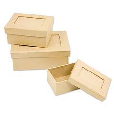 Passepartout-Pappschachtel-Set, rechteckig, mit Deckel, Inhalt: 3 Stück in den Größen 16,5 x 10,5 x 6,5 cm, 12 x 8,5 x 5,5 cm und 9,5 x 6,5 x 4,5 cm.Mit praktischem Passepartout zum Einstecken eines Fotos oder zum Beschriften. Zum individuellen Gestalten von Geschenkverpackungen. Die Pappoberfläche bietet viel Platz zum freien Gestalten und Verzieren nach Herzenslust, z.B. mit Serviettentechnik, Décopatch, Decoupage oder einfach zum Anmalen.