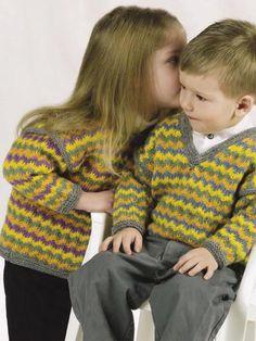 Babies & Children's Knitting - Children's Clothing Knitting Patterns - Rickrack Stripes Cardigan & Pullover