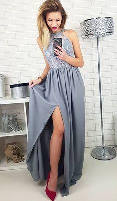 Długa szara sukienka na wesele, ślub, dla druhny