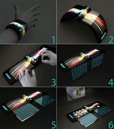 Sony Nextep: Designed by Hiromi Kirik from Japan Developed to be worn as a bracelet, this computer concept is constructed out of a flexible OLED touchscreen. with holographic projector (for screen), & pull-out extra keyboard panels!!!