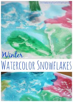Simple and fun watercolor snowflakes painting for a quick Winter activity. Try this easy resist style painting process for kids.