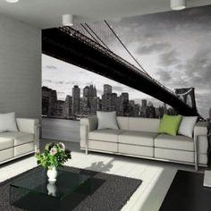 Brooklyn Bridge Skyline Wall Mural on Gilt Floor Design, House Design, Impression Grand Format, Rectangular Living Rooms, Bronze Spray Paint, Front Rooms, Home Wallpaper, Wallpaper Ideas, Textured Wallpaper
