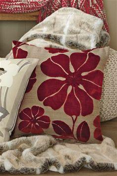 Red Floral Velvet Cushion