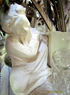 """Just a few simple """"whites"""" and clear Depression glass to share with you as I look towards the corner of my living room! Art Nouveau, Art Deco, Different Kinds Of Art, Egyptian Art, Jewelry Art, Glass Art, Sculpture, Statue, Simple"""