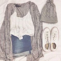 Cool Summer Outfits With Shorts GREY CARDI, BEANIE, AND WHITE TANK TOP Check more at http://24shopping.cf/my-desires/summer-outfits-with-shorts-grey-cardi-beanie-and-white-tank-top/