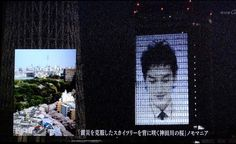 My favorite  photo introduced by master of ceremony (MC) on NHK TV in it's special program aired on 12/5/2012.     The photo shows Tokyo Sky Tree stood behind cherry blossom in full bloom at Kanda river one month after the 3.11 earthquake.  MC is projeced on the wall of the building adjasent to Sky Tree.
