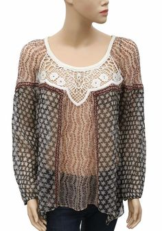 139989 New Free People Floral Printed Crochet Embellished Sheer Blouse Top S