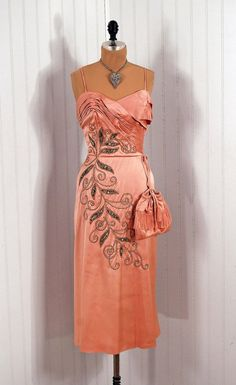 1950's Emma Domb Pink Beaded Satin Fishtail Dress with Matching Shawl and Purse