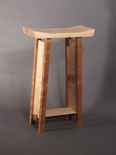 Bar Stools- Modern Zen Wood Bar- Narrow Saddle Seat Stool - Handmade Custom Wood…
