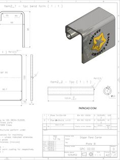 2D drawings Gripper Panel carrier DIY Autodesk Inventor, Metal Tools, Metal Art, 3d Cad Models, Cad Drawing, Cool Inventions, Welding Projects, Woodworking Tips, Autocad