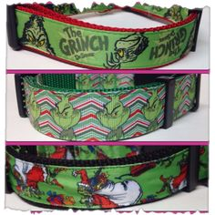 Dog Collar Adjustable Grinch Christmas Three Choices on Etsy, $15.00