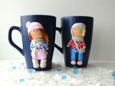 """Купить Кружка с декором """" Кукла"""" - тёмно-синий, полимерная глина, керамическая кружка"""