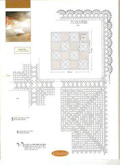 Manteles a crochet Crochet Borders, Crochet Diagram, Crochet Squares, Filet Crochet, Crochet Lace, Crochet Style, Doily Patterns, Crochet Fashion, Doilies