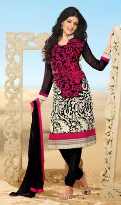 Elegant Black Embroidered Churidar Suit Price: Usa Dollar $88, British UK Pound £52, Euro65, Canada CA$96 , Indian Rs4752