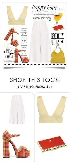 """Happy Hour Networking"" by conch-lady ❤ liked on Polyvore featuring Valentino, WALL, TIKI, Prada, Kate Spade, happyhour, bottomups and happynetworking"