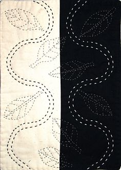 """Kate Pickard's """"Not Everything Is Black and White"""" -- a riff on sashiko."""