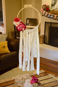 Boho First birthday party/ dream catcher over table/ DIY Dreamcatcher
