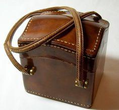 Vintage Josef Italian Leather Square Box Bag Purse