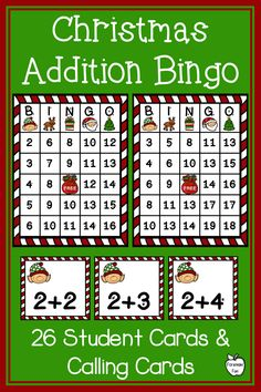 Christmas Addition Bingo ~ Sums to 20 ~ Class Party Game Math Bingo, Multiplication Activities, Math Fact Fluency, Fun Math Games, Math Activities, Third Grade Math Games, Math Fact Practice, Christmas Math, Christmas Activities