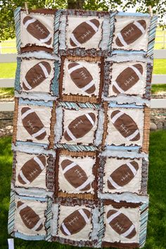 Boy RAG QUILT Football Applique but I would have it done with hints of lime green instead of the baby blue