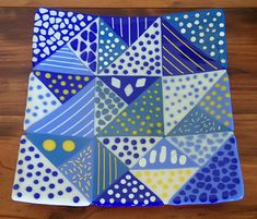Blue Celebration Fused Glass Plate by Fields-Of-Clover.deviantart.com on @DeviantArt