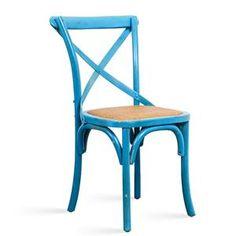 Sedia in legno blu vintage invecchiato con seduta imbottita arredo shabby