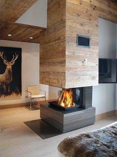 Open Modern Fireplace Design See Through open fireplace, Top 70 Best Modern Fi… Fireplace Logs, Living Room With Fireplace, Fireplace Design, Fireplace Ideas, Fireplaces, 3 Sided Fireplace, Fireplace Modern, Bedroom Fireplace, Fireplace Inserts