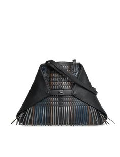 Medium Shoulder Bag in Lasercut Cervocalf with Woven Detail Shopper, Laser Cutting, Calf Leather, Leather Handbags, Convertible, Hand Weaving, Pouch, Shoulder Bag, Pure Products