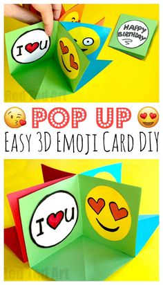 """Easy Emoji Pop Up Cards – Fun with Circle Cards. These fold flat or """"pop up""""! This Emoji Pop Up card makes a great alternative to explosion cards. Much easier and just as fun. Love these Emoji design version. Paper Crafts For Kids, Crafts For Kids To Make, Diy Crafts, Valentine Crafts For Kids, Valentines Diy, Emoji Pop, Happy Pop, Kids Pop, Pop Up Cards"""