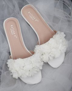 IVORY SATIN Slide Sandals with allover Chiffon Flowers - Bridal Sandals, Bridesmaids Sandals, Wedding Sandals Elegant slide flat sandals for casual and dressy look with added allover chiffon flowers. Simple and easy wear for bride. Converse Wedding Shoes, Wedge Wedding Shoes, Wedding Boots, Bridesmaid Sandals, Bridal Sandals, Bridal Shoes, Sandals Wedding, Shoes Flats Sandals, Slide Sandals