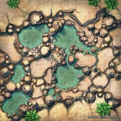 The Mineral Pools Battle Map : dndmaps Dungeons And Dragons Homebrew, D&d Dungeons And Dragons, Desert Map, Dnd World Map, Fantasy City Map, Pathfinder Maps, Rpg Map, Adventure Map, Dungeon Maps