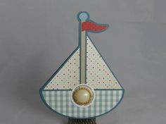 This hand-made baby shower card is in the shape of a sailboat. It was digitally created and assembled. Stampin Up and other companies products were used. A button adorns the center of the sentiment, congratulations.  Size: Approx. 4.25 x 5.5  Back: My company information is on the back of the card.  Inside: Blank for you to include your own sentiment.  Envelope: This card includes a white envelope.  All of my cards are 100% handmade by me in a smoke-free home. If you'd like a similar card in…