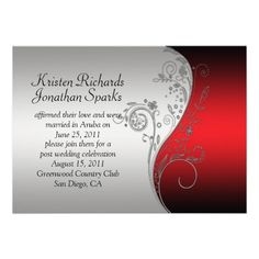 Red Black Silver Flower Post Wedding Celebration Personalized Invitation