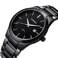 Curren Brand Design Business Calender Men Watches Stainless Steel Luxury Quartz Wrist Watch Gift Black * More info could be found at the image url.