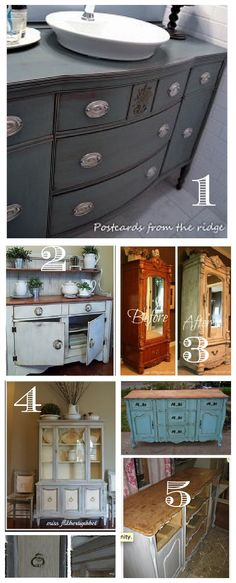 DIY Painted Furniture Trend - Home Stories A to Z bathroom cabinets Refurbished Furniture, Paint Furniture, Repurposed Furniture, Furniture Projects, Furniture Makeover, Home Furniture, Antique Furniture, Modern Furniture, Eclectic Furniture
